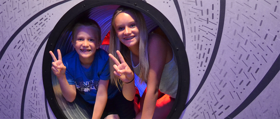Kids In Interactive Tunnel In SafeHouse Restaurant